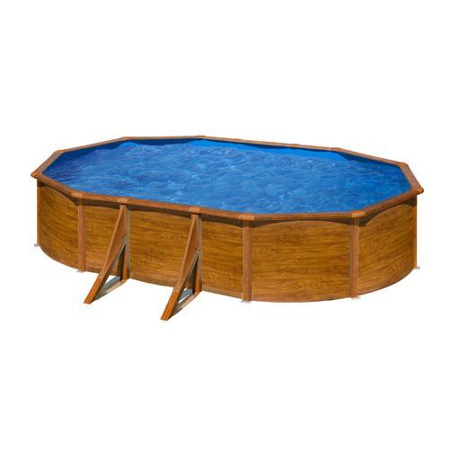 Gre zwembad Pacific ovaal staal houtimitatie 527x327x122cm