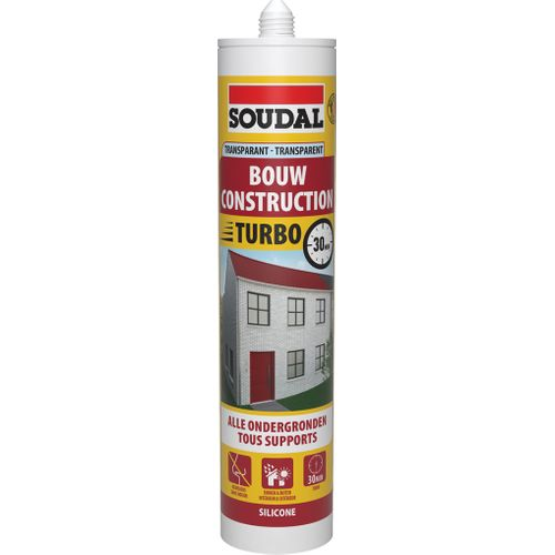 Soudal bouw silicone 'Express' transparant 300 ml
