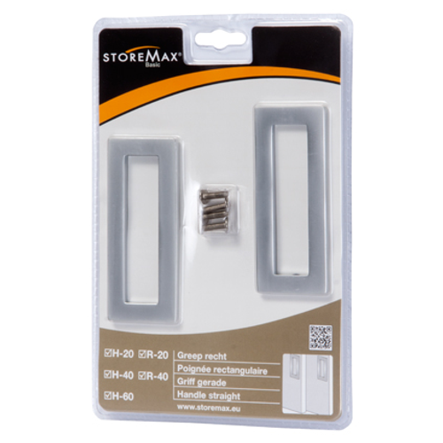 Poignée Storemax carré aluminium - 2 pcs