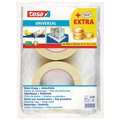Ruban de masquage et film de protection Tesa 'Universal' chamois 2x50mx30mm + 1x4mx5m
