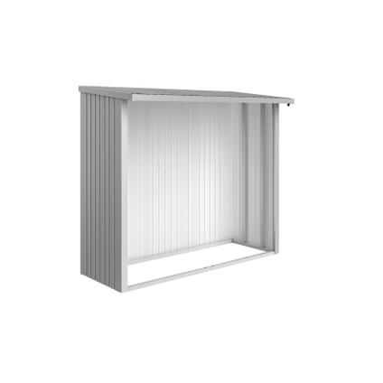 Biohort haardhoutopslag WoodStock 230 zilver metallic 102x229cm