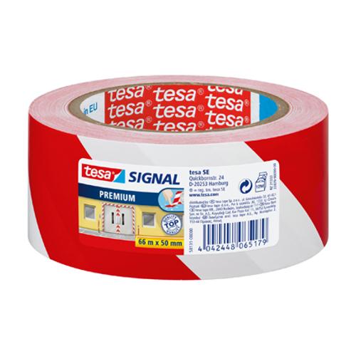Tesa signalisatietape 'Premium' rood/wit 66mx60mm