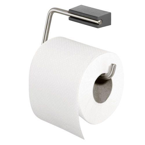 Porte-rouleau de papier toilette Tiger Cliqit acier inoxydable brossé/gris foncé
