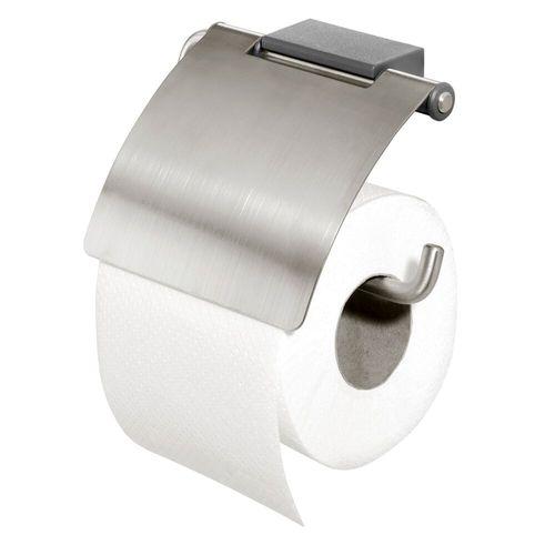 Porte-rouleau de papier toilette avec couvercle Tiger Cliqit acier inoxydable brossé/gris foncé