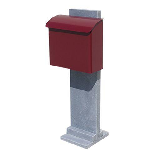 VASP brievenbus op palissade 'Götenborg-Red' Belgische arduin en metaal rood
