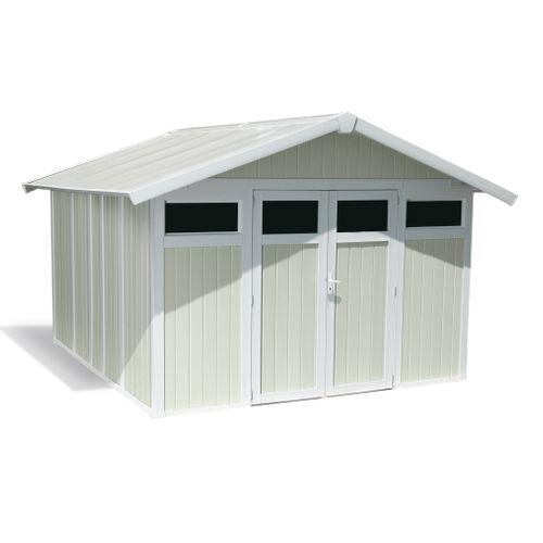 Grosfillex Maison de jardin Utility polypropylène blanc gris vert 7,5m²