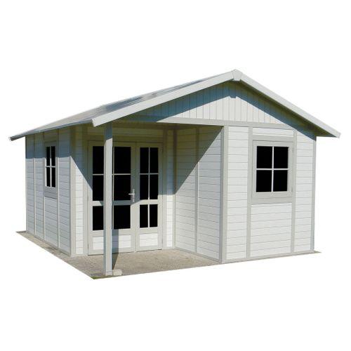 Grosfillex Tuinhuis Deco 20B polypopryleen wit grijs groen 20m²