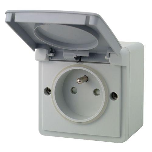 Niko spatwaterdicht stopcontact 2P + aardpen opbouwdoos grijs