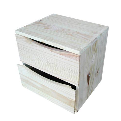 Cube de rangement 2 tiroirs pin 36x36x30cm