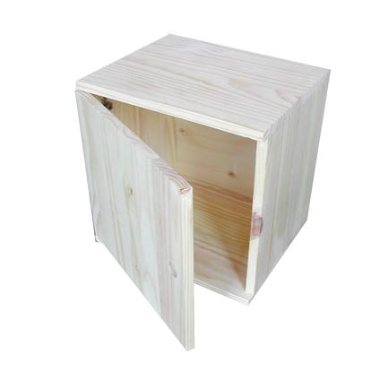 Cube De Rangement Avec Porte Pin 36x36x30cm