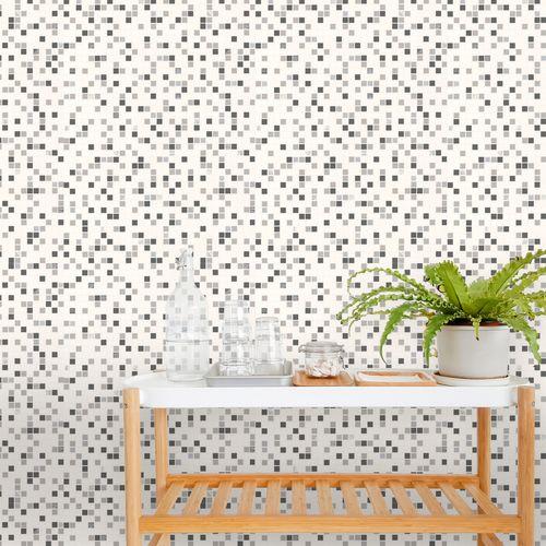 Papier peint vinyle 'Checker' blanc / noir 52 x 1000 cm