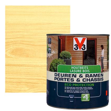 V33 houtbeits 'Deuren & Ramen Eco Protection' naturel mat 750ml