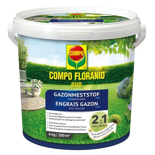 Engrais gazon anti-mousse Compo Floranid Duo 6kg 200m²