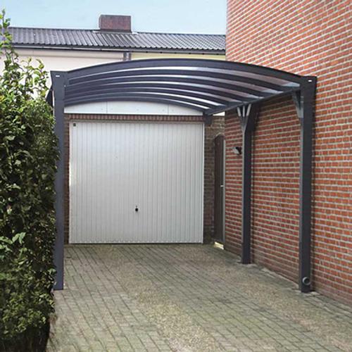 Scala carport in metaal antraciet helder 3,7 x 4 m