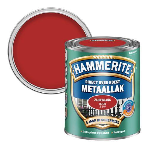 Hammerite metaallak zijdeglans rood 250ml
