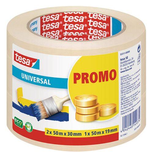 Tesa masking 'Universal' chamois 2x50mx30mm + 1x50mx19mm