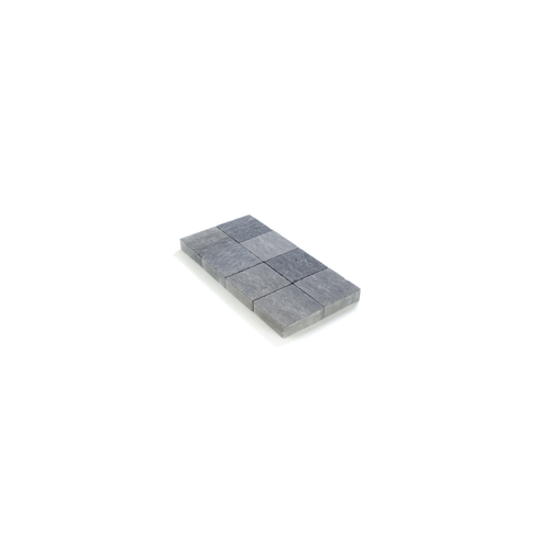 Pave tambouriné gris noir in-line 20X20X6