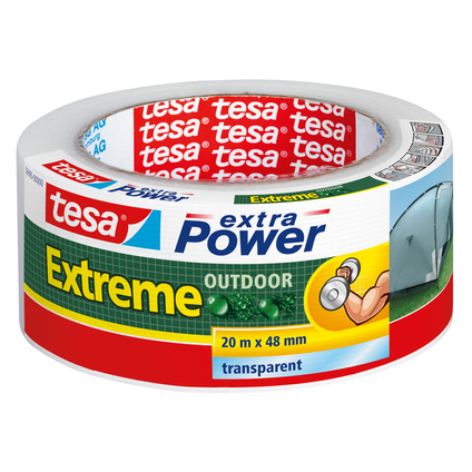 Ruban adhésif Extra Power Tesa 'Extreme outdoor' transparent 20 m x 48 mm