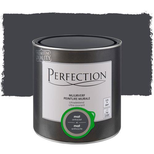 Perfection muurverf Ultradekkend mat antraciet 2,5L