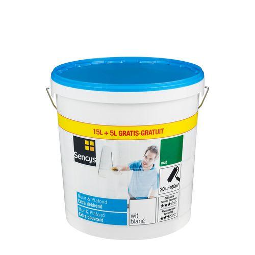 Sencys Muur & Plafond extra dekkend mat wit 20L