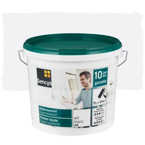 Sencys buitenmuurverf Superdekkend mat wit 5L