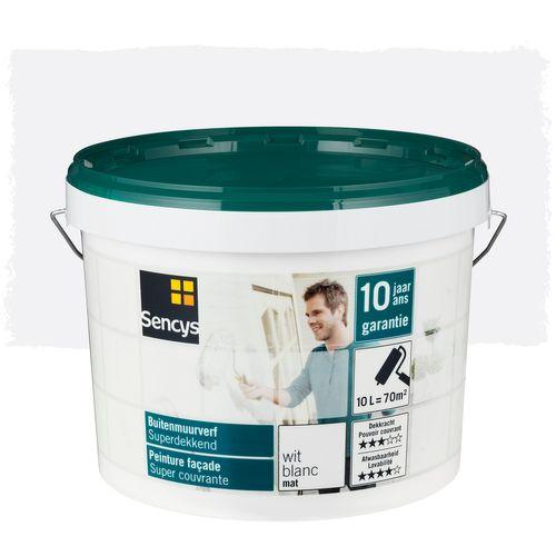 Sencys buitenmuurverf Superdekkend mat wit 10L