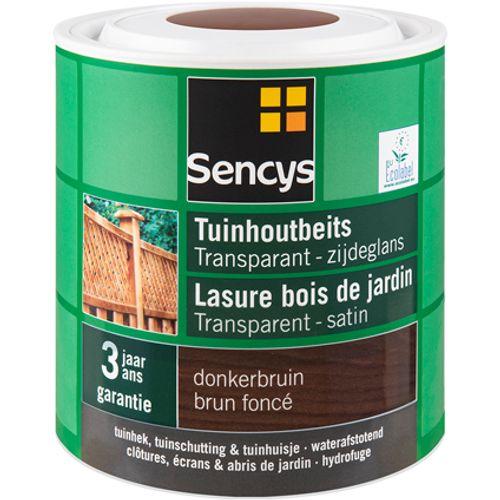 Sencys tuinhoutbeits transparant zijdeglans donkerbruin 2,5L
