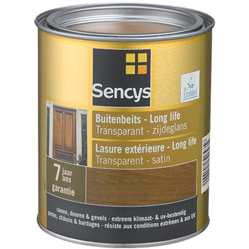 Lasure exterieure Sencys Long Life transparent satin teck 750ml