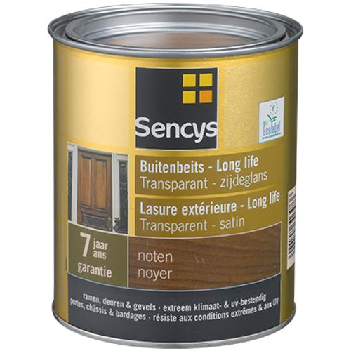 Lasure extérieure Sencys Long Life transparent satin noyer 750ml