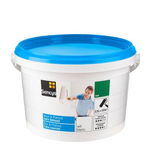 Peinture latex Sencys 'Mur & Plafond Extra Couvrant' blanc mat 2,5L