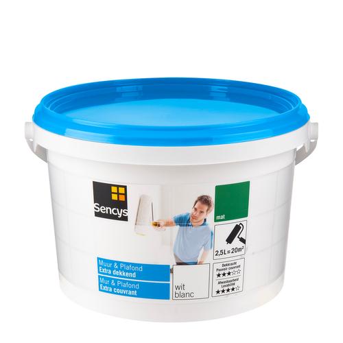 Sencys latex verf 'Muur & Plafond Extra Dekkend' wit mat 2,5L