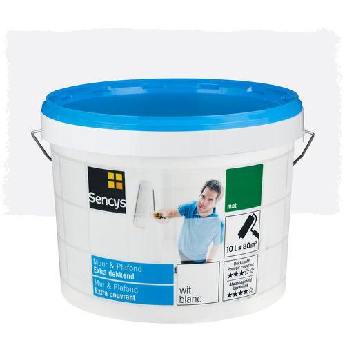 Peinture Sencys Mur & Plafond extra couvrant blanc mat 10L