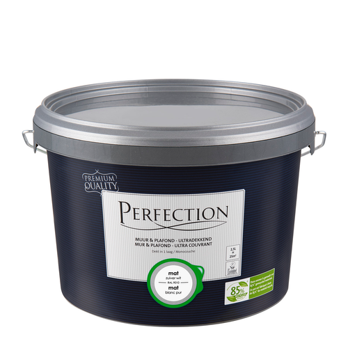 Perfection latex verf 'Muur & Plafond Ultra Dekkend' puur wit mat 2,5L