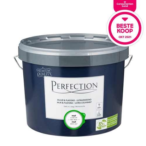 Perfection Muur & Plafond Ultradekkend mat RAL 9010 10L