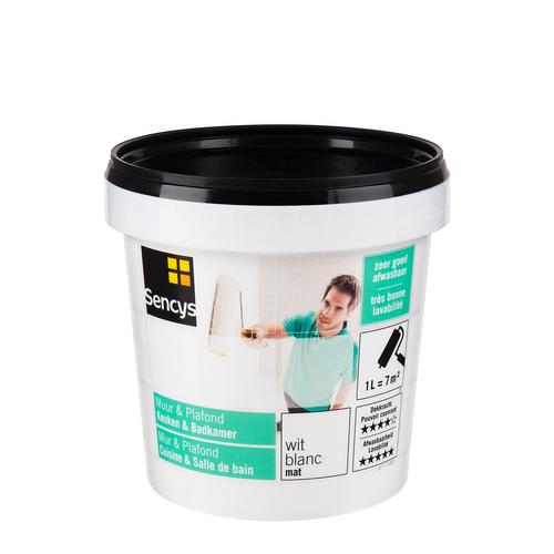 Sencys Muur & Plafond Keuken & Badkamer mat wit 1L