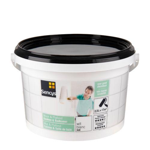 Sencys muur & plafond keuken & badkamer mat wit 2,5L