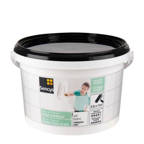 Sencys muurverf 'Keuken & Badkamer' zijdeglans wit 2,5L