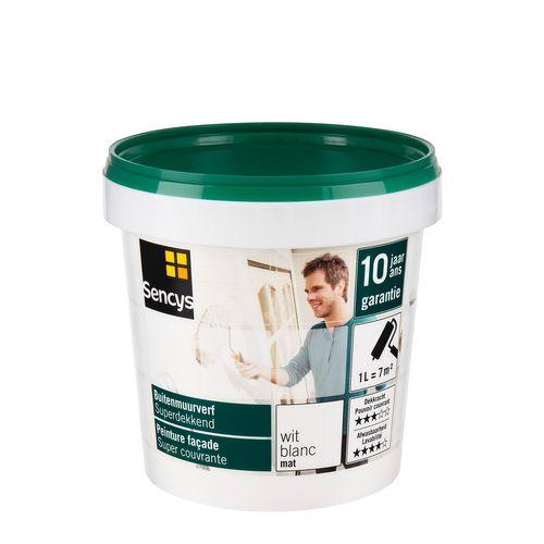 Sencys buitenmuurverf Superdekkend mat wit 1L