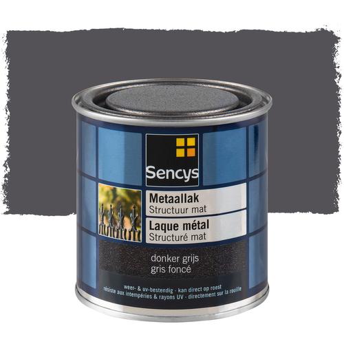 Sencys metaallak structuur mat donker grijs 250ml