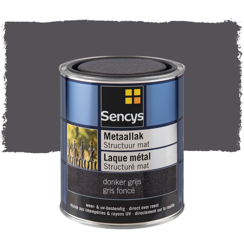 Sencys metaalverf structuur mat donker grijs 750ml