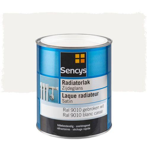 Sencys radiatorlak zijdeglans gebroken wit RAL 9010 750ml