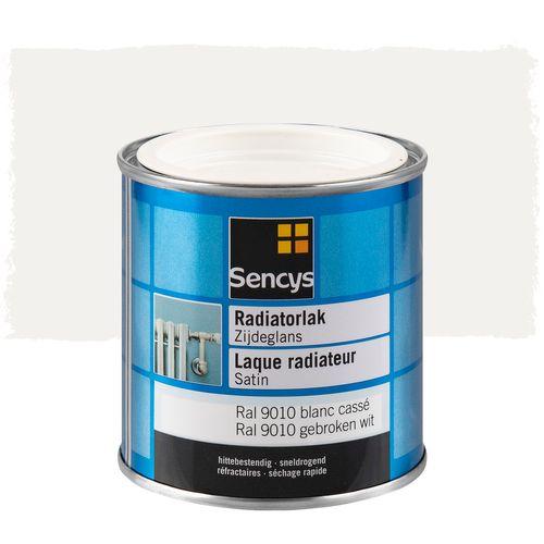 Sencys radiatorlak zijdeglans gebroken wit RAL 9010 250ml