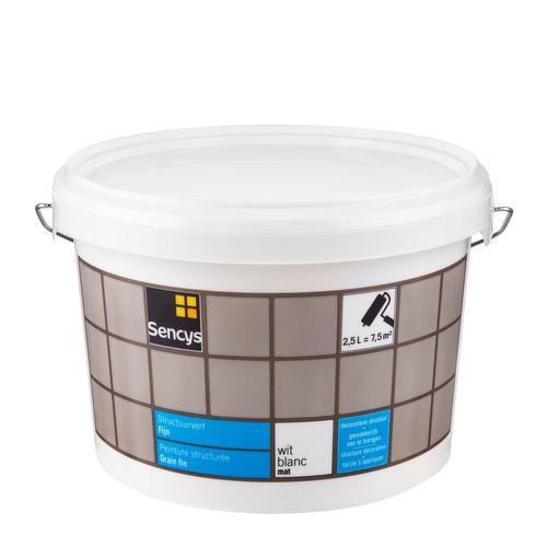 Sencys structuurverf mat fijn wit 2,5L