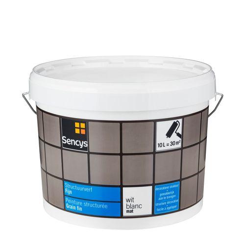 Sencys structuurverf mat fijn wit 10L