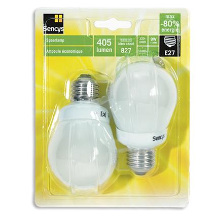 Sencys spaarlamp compact 5W E27 (grote fitting) 2 stuks