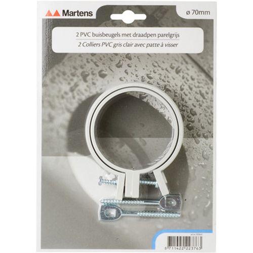 Martens beugel+pen 70mm M6  parelgrijs