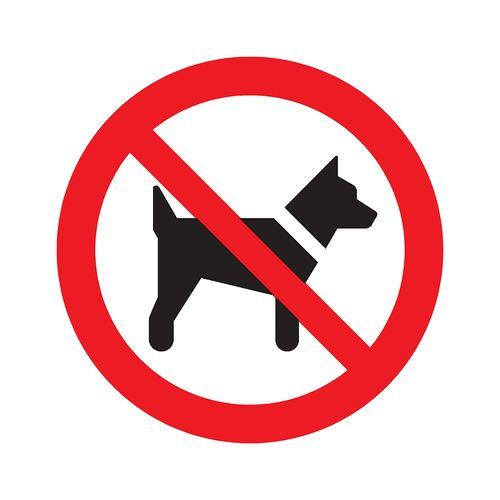Pickup bord PVC Verboden voor honden 180mm