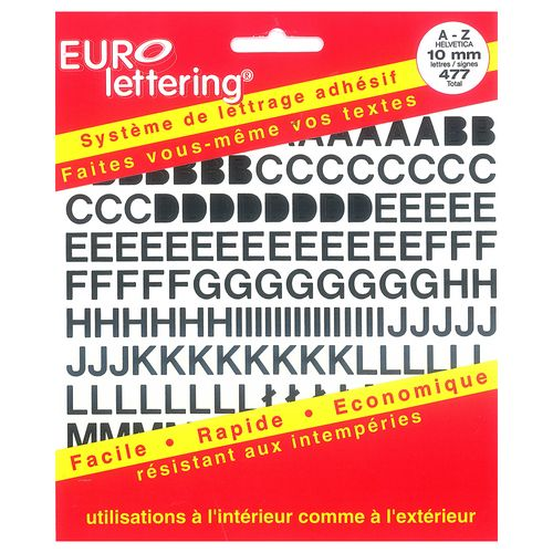 Pickup boekje zelfklevende letters Eurol 10mm zwart