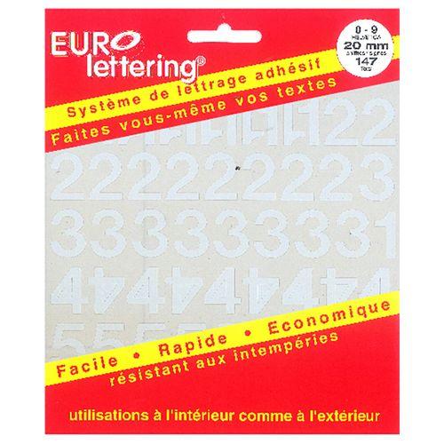 Pickup boekje zelfklevende cijfers Eurol 20mm wit