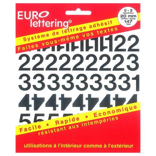 Pickup boekje zelfklevende cijfers Eurol 20mm zwart